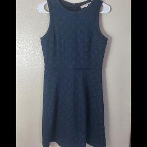 LOFT Blue Knit Sleeveless Embroidered Flare Dress